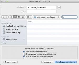LR catalogus exporteren screenshot1